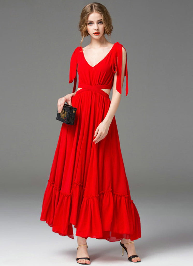 V Neck V Back Red Chiffon Maxi Dress with Cut-out on Waist and Flounce Hem