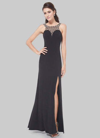 Deep V Back Black Evening Dress with Lace Details and Front Slit RM472