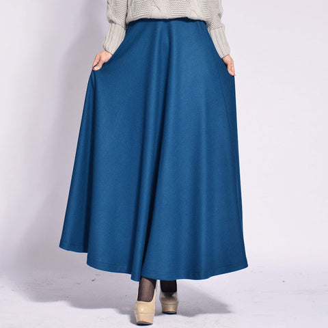 Dodger Blue Wool Blend Maxi Skirt - Blue Wool Skirt with Extra Wide Hem - WSK2B