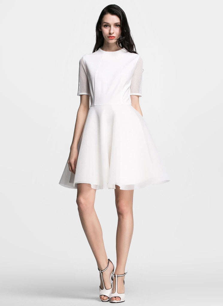 White Tulle Mini Fit and Flare Dress with Elbow Sleeves
