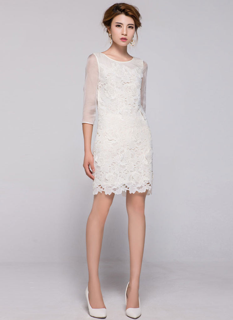 Off-White Lace Sheath Dress with 3D Appliqué and Organza Sleeves