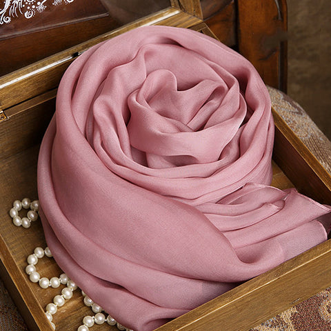 Pale Violet Red Silk Chiffon Scarf - Rubber Pink Mulberry Silk Scarf SS3