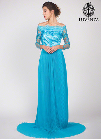 Floor Length Sky Blue Off the Shoulder Evening Gown with Hand-Sewn Sequin Embellishment