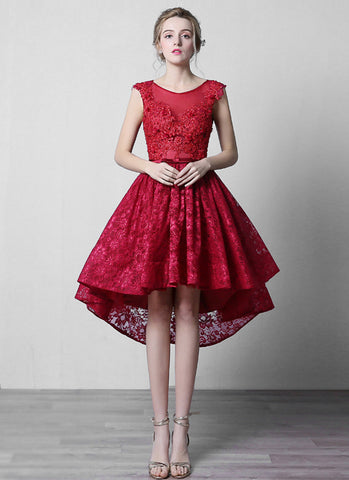 Open Back Hi Lo Hem Crimson Red Lace Midi Dress with Beaded Top MD47