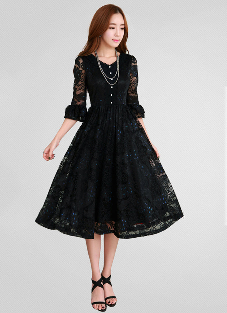 Black Lace Tea Dress with V Neck and Shirt Top