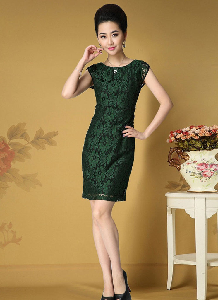 8cd9b8bf Cap Sleeve Dark Green Lace Sheath Dress with Black Lining RD360 ...