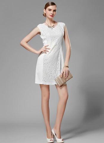 White Aline Mini Dress with Lace Torso MN81