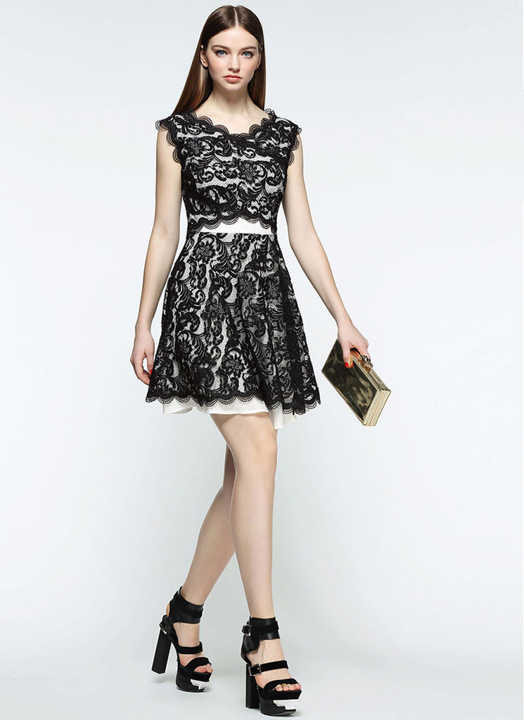 V Neck Black Lace Mini Dress with Scalloped Hem and Angled Waist