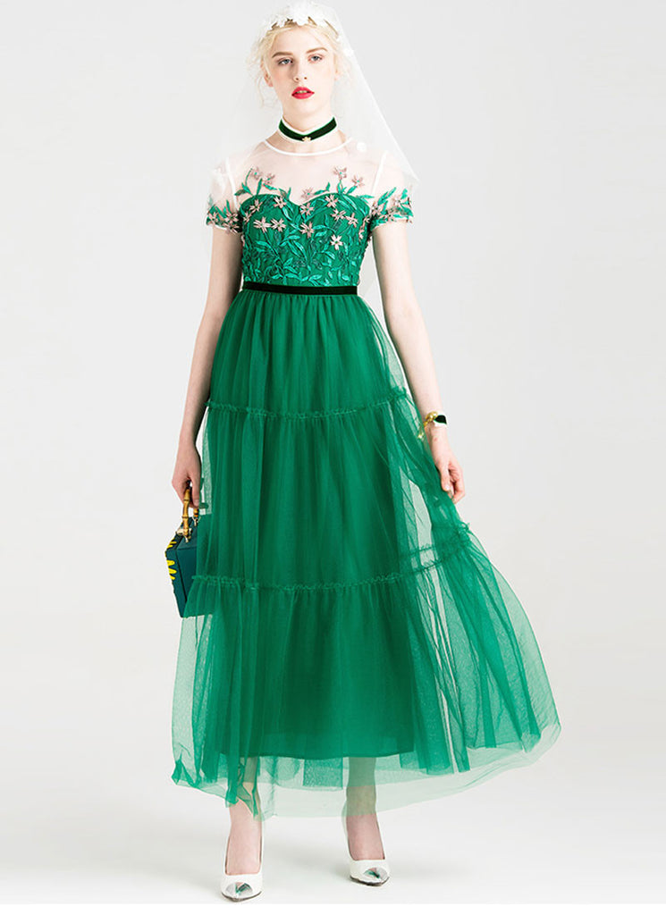 Embroidered Green Lace Tulle Maxi Dress with Cap Sleeves