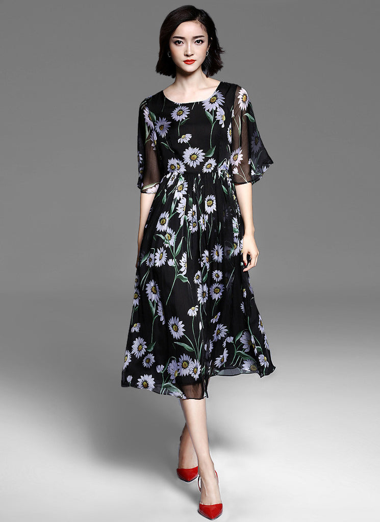 Elbow Sleeved Black Chiffon Midi Dress with Daisy Floral Print