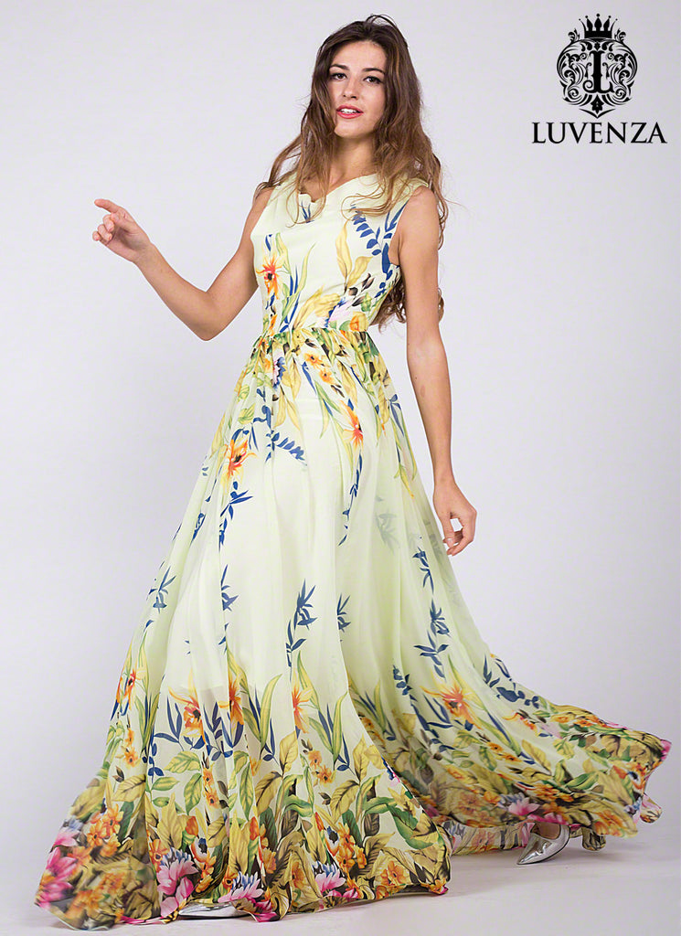 Light Yellow Draped Neck Floor Length Sundress with Multi-Color Floral Print