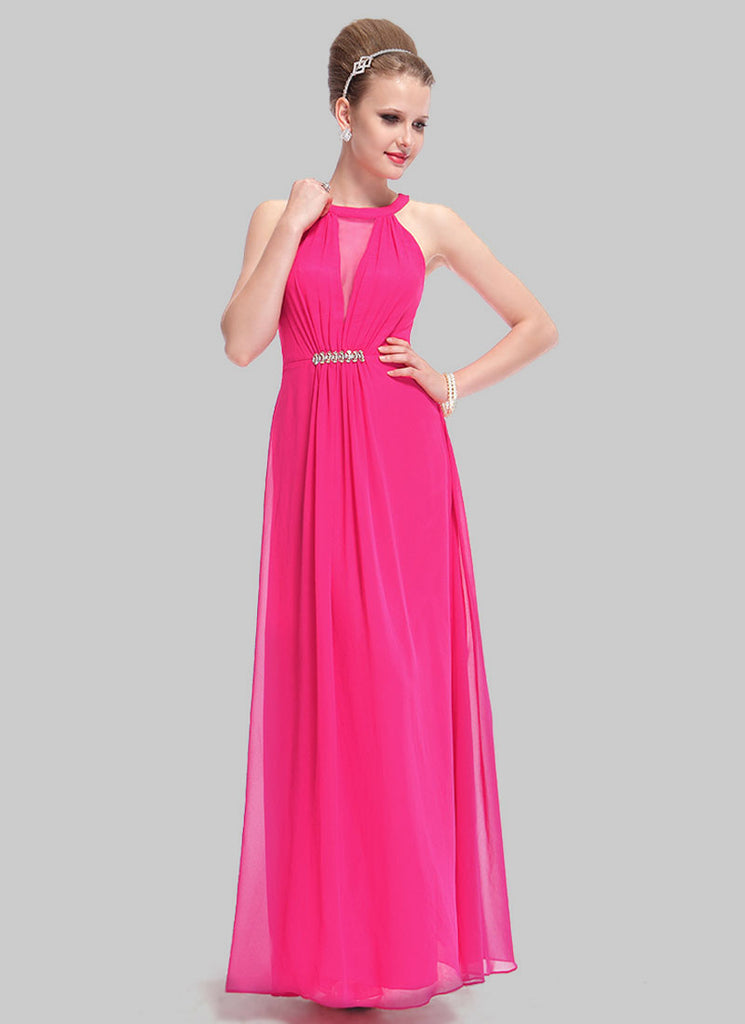 Fuchsia Chiffon Maxi Dress with Rhinestone Embellishment