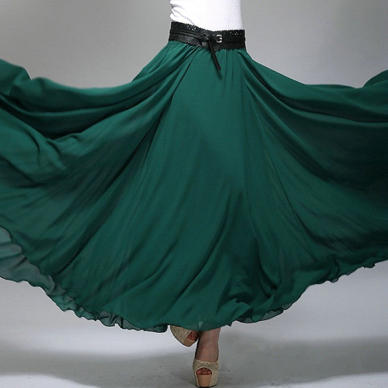 Dark Teal Chiffon Maxi Skirt with Extra Wide Hem