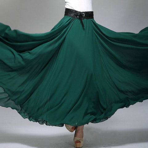 Dark Teal Chiffon Maxi Skirt with Extra Wide Hem - Long Teal Chiffon Skirt - SK2b