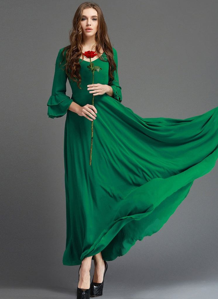Emerald Green Maxi Dress with 3 Quarter Trumpet Sleeves