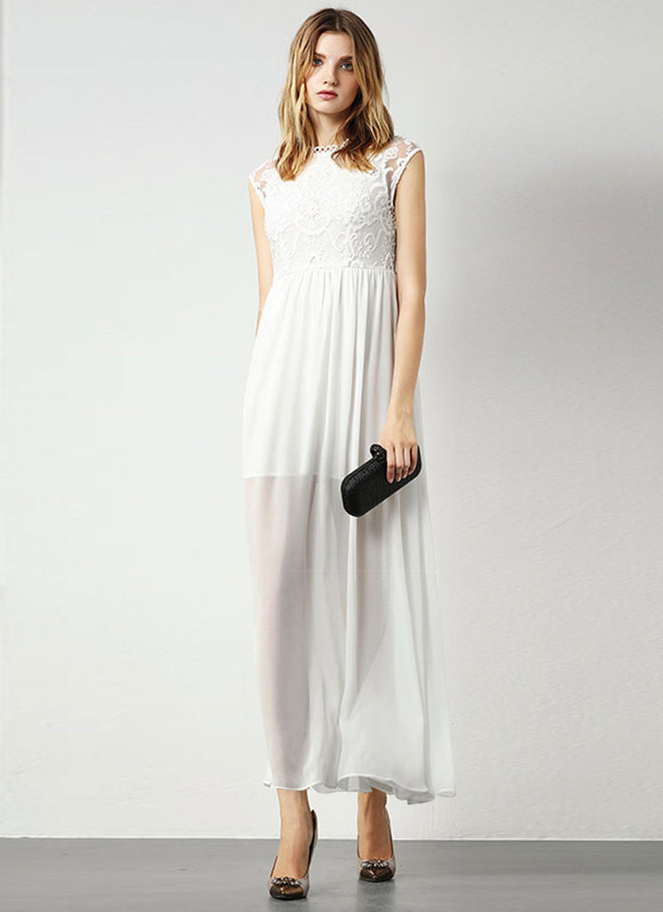 White Lace Chiffon Maxi Dress with Embroidered Organza Lace Top