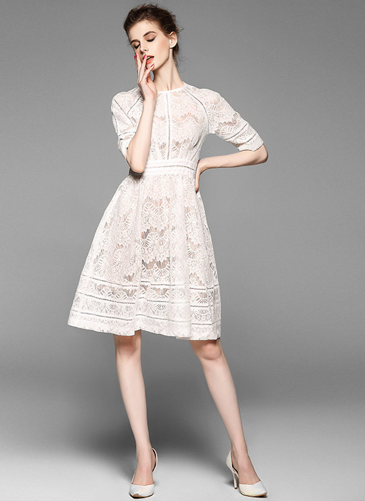 Cream White Lace Aline Mini Dress with Short Sleeves and Fabric Black Design