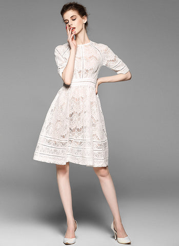 Cream White Lace Aline Mini Dress with Short Sleeves and Fabric Black Design MN50