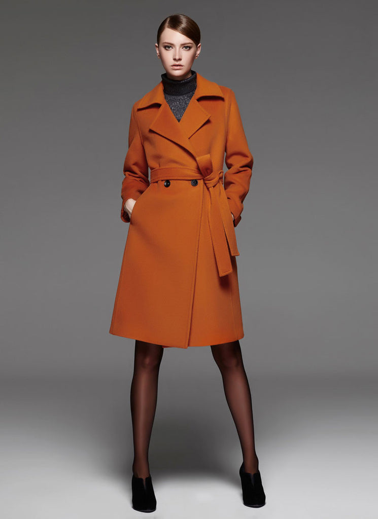 Belted Dark Orange Cashmere Wool Coat