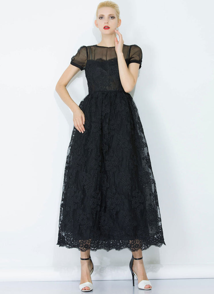 Black Lace Organza Maxi Dress with Eyelash Details