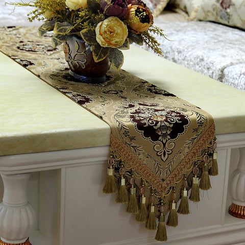 Retro Style Table Runner with Crochet Edge and Fringes TR7A