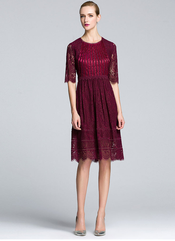 Maroon Lace Fit and Flare Mini Dress with Scalloped Hem and Ribbon Embellished Top