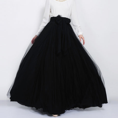 Elegant Black Tulle Maxi Skirt with Bow Sash and Extra Wide Hem - Long Black Tulle Skirt Floor Length - SK3h