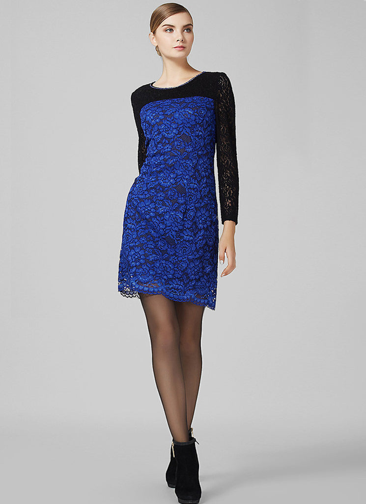 Dark Royal Blue Lace Sheath Mini Dress with Black Sleeves