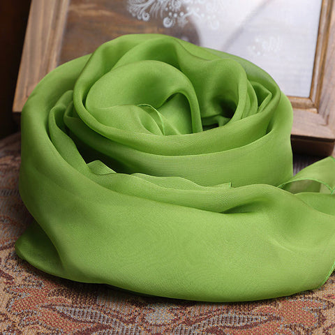 Yellow Green Silk Chiffon Scarf - Chartreuse Mulberry Silk Scarf SS23