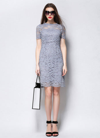 Medium Gray Lace Sheath Mini Dress with Scalloped Hem and Bow Embellished Back MN102