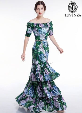 Chiffon Blue, Purple, Green Floral Print Maxi Fit and Flare Evening Dress in Floor Length with Off the Shoulder and Flounce Hem Design