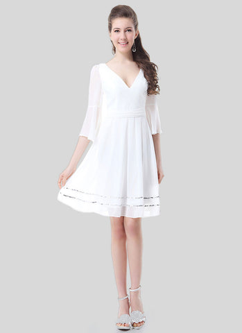 V Neck White Mini Dress with Trumpet Sleeves and Sequin Details RD395