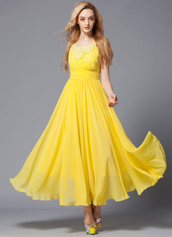 V Neck Yellow Maxi Dress with Lace Details and Ruched Waist Yoke RM424