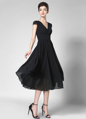 V Neck Black Midi Chiffon Dress with Cap Sleeves and Ruched Waist Yoke MD35