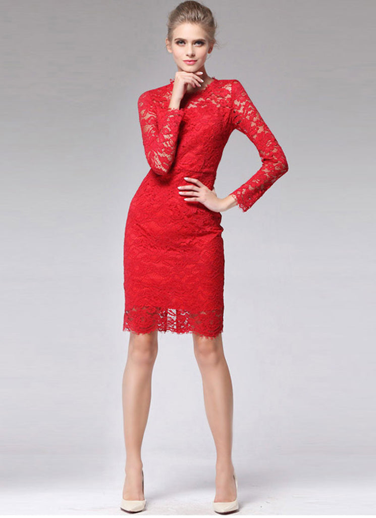 Long Sleeve Red Lace Sheath Mini Dress with Bow Embellishment