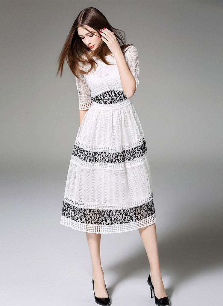 White Lace Tea Dress with Black Lace Details and Elbow Sleeves