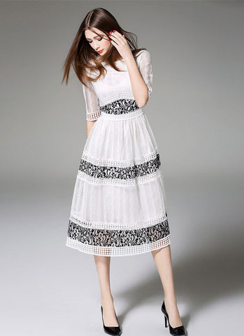 White Lace Tea Dress with Black Lace Details and Elbow Sleeves MD29