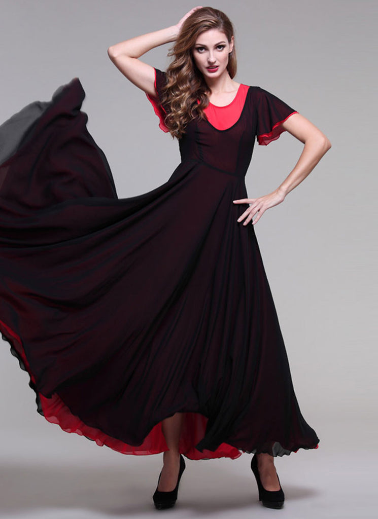 Black and Red Maxi Dress with Flutter Sleeves