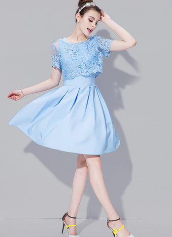 Light Blue Lace Peplum Mini Dress with Scallop Details RD591
