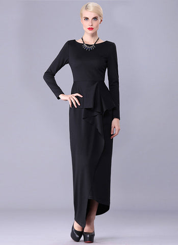 Black Asymmetric Peplum Dress RM409