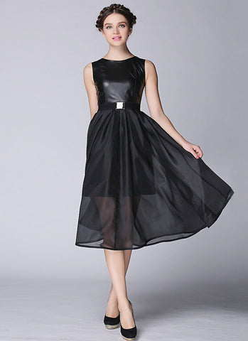 Black PU Leather & Organza Midi Dress RM448