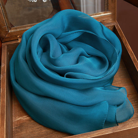 Teal Blue Silk Chiffon Scarf - Dark Steel Blue Mulberry Silk Scarf SS27