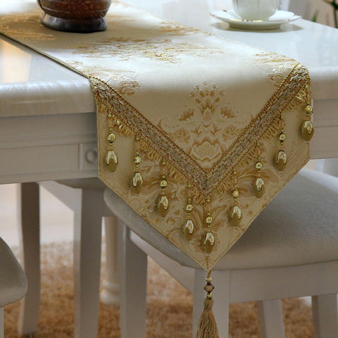 Retro Style Table Runner with Golden Toned Oval Ball Embellishment and Fringes TR11