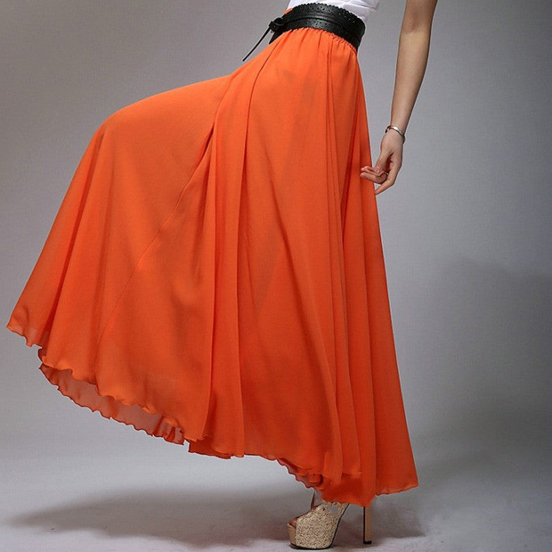 Orange Red Chiffon Maxi Skirt with Extra Wide Hem