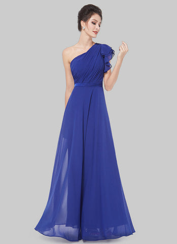 One Shoulder Blue Maxi Dress with Layered Flutter Sleeve RM508