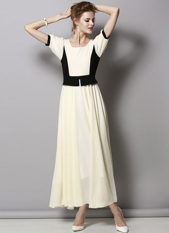 Moonlight Beige Maxi Dress with Black Peplum RM421