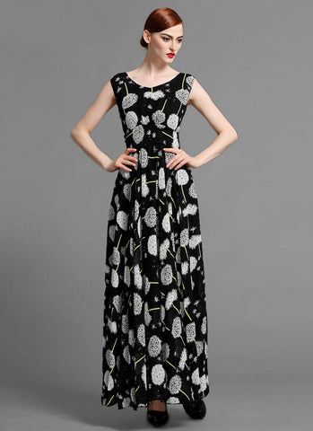 Sleeveless V Neck Black Maxi Dress with Dandelion Print MX15