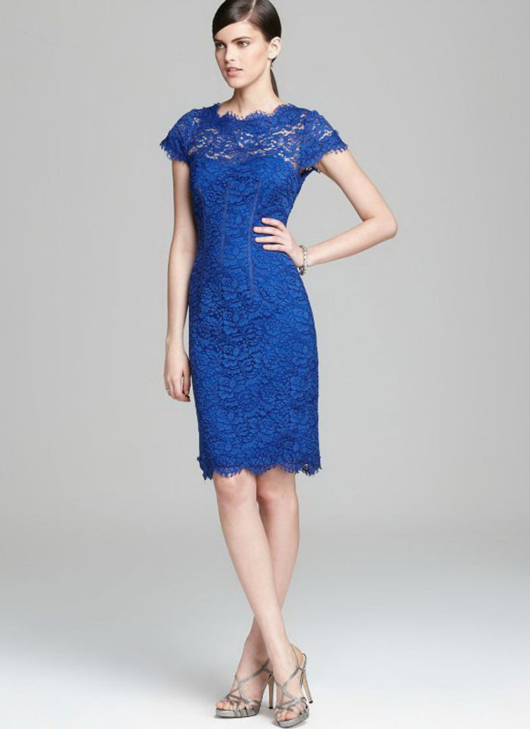 Blue Lace Sheath Dress with Open Back and Eyelash Details