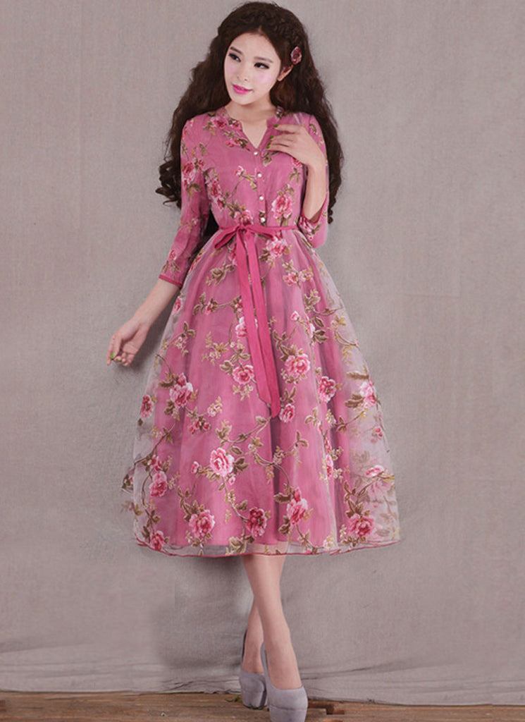 Pale Violet Red Organza Tea Dres with Floral Print and Shirt Top