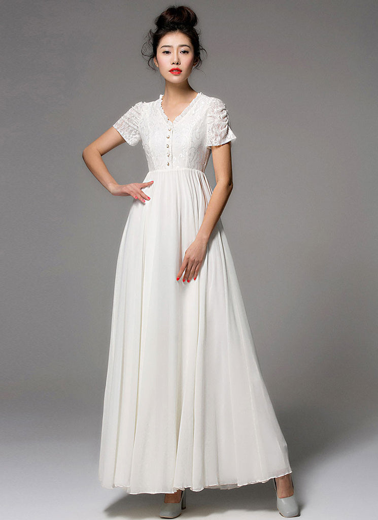 White Lace Chiffon Maxi Dress with Ruffled V Neck and Sleeves